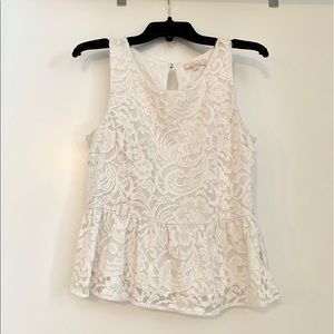 Tops - Beautiful White Lined Lace Peplum Top